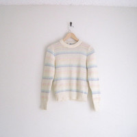 vintage 80s sweater / cream knit sweater / striped  / charming pastel sweater / fitted knitted sweater