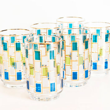 Vintage Libbey Nordic Glasses, Square Pattern Juice Tumblers Glassware, Turquoise, Blue, Lime Green Gold