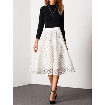 White Plain Long Full Skirt