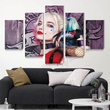 5 Panel Suicide Squad Harley Quinn Wall Art Oil Painting Movie Poster Modular Wall Picture For Living Room Unframd BR0144