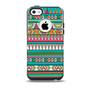 The Tribal Vector Green & Pink Abstract Pattern V3 Skin for the iPhone 5c OtterBox Commuter Case
