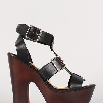Breckelle Buckled Cage Open Toe Heel