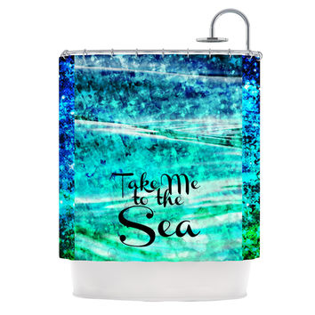 "Ebi Emporium ""Take Me to the Sea"" Aqua Glitter Shower Curtain"