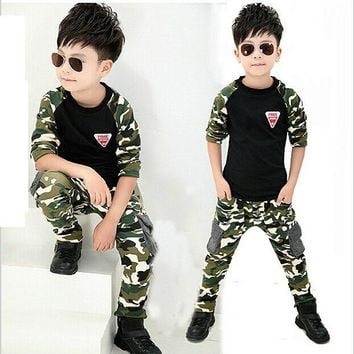 2017 New Camouflage Kids Clothing Set for Boys&Girls Spring&Autumn Cotton Camo Boys Sports Set Active Girls Clothing Sets YC018