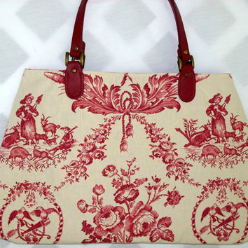Red and White Vintage Toile Carpet Bag by SadiesSnippets on Etsy