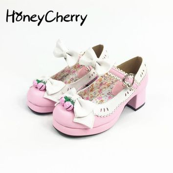 Japan Lolita Shoes Strawberry Bell Soft Sister With Thick Square Bow  High Heels Platform cute cosplay girl shoes