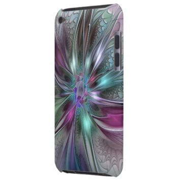Colorful Fantasy, abstract and modern Fractal Art Barely There iPod Cover