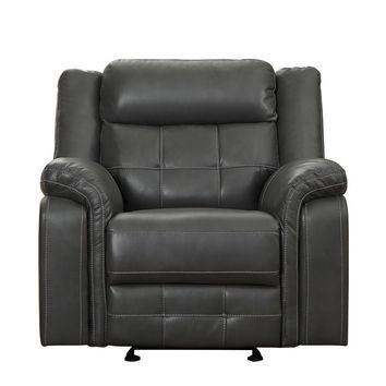 Airehyde Match Glider Recliner Chair With Contrast Stitching, Gray