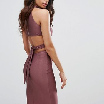 NaaNaa High Neck Dress with Cutouts and Tie Back at asos.com