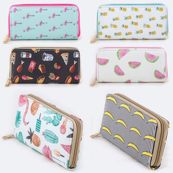 Faux Leather Zipper Around Long Wallet Clutch Card Coin Holder Pineapple Banana