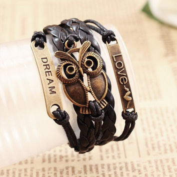 New Women Fashion Multilayer Braided Retro Owl Love Dream Charms Bracelets Jelwery