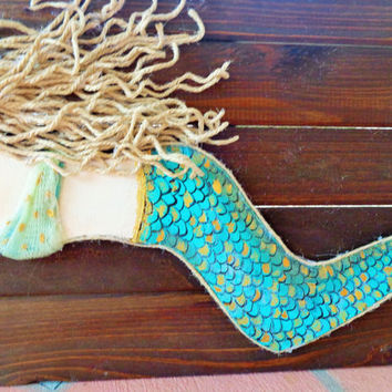 Mermaid Decor Original Artwork on Wood, Blonde Hair Blue Eyes, Mixed Media Acrylic Wall Hanging. 10X28 inches.