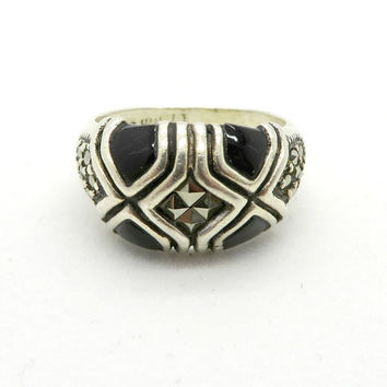 Black Onyx Marcasite Ring, Vintage Sterling Silver Domed Band, Size 6