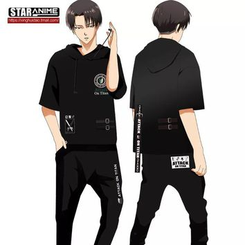 Cool Attack on Titan [STOCK] 2018 Anime  Levi Ackerman T-shirt With Headset Cosplay Costume Unisex M-XXL For Halloween  . AT_90_11