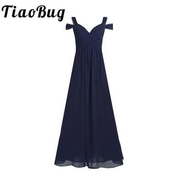 Women Ladies Chiffon Off-The-Shoulder Side Split Long Bridesmaid Dress Women High-waisted Floor Length Prom Wedding Party Dress