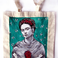 Handpainted tote bag Frida Kahlo Fanart custom eco friendly bag
