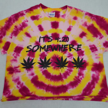 Tie Dye Shirt pot leaf crop top Soft Grunge Hippie Small Womens Tie Dye Clothing Handmade Tie Dye Yellow Girly Stoner Pot Leaf Herb Plur