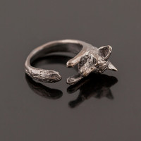 Handcarved Fox Wrap Ring. Adjustable Fox Ring. Fox Ring. Hugging Fox Ring. Animal Ring. Fox Totem Jewelry. Woodland Jewelry. Boho Ring