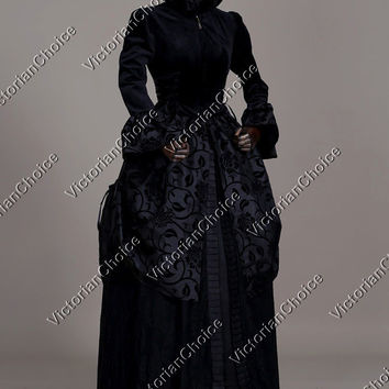 Black Renaissance Dark Queen Velvet Game of Thrones Gown Halloween Costume N 331