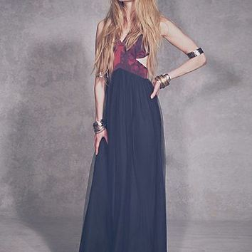 Shakuhachi Womens Black Rose Tulle Maxi - Black Rose