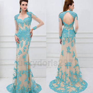 Sexy Long Lace Mermaid Evening Formal Party Cocktail Bridesmaid Prom Gown Dress