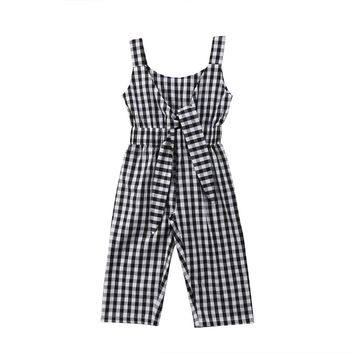Newborn Baby Girl Clothing Plaids Romper Jumpsuit Playsuit Sleeveless Cute Summer Clothes Outfits Girls 6M-5T