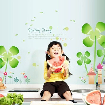 Children room wall clovers castle wall stickers in the household adornment wall to stick on the wall SM6