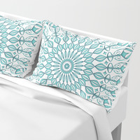 Aqua mandala Pillow Sham by juliagrifoldesigns