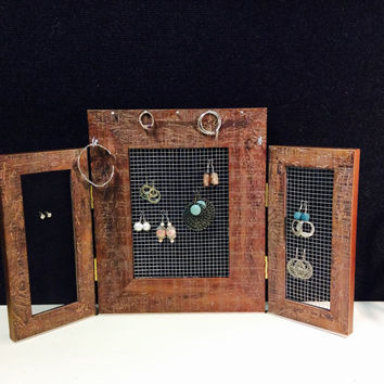 Jewelry organizer frame, Earring display, earring stand, jewelry frame, rustic timber frame, free standing jewellery frame