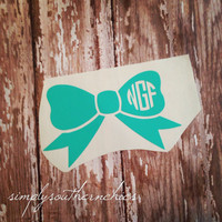 Monogrammed Bow Decal - Initials or Sorority ~ Perfect for Laptop, Car, or Anything Else