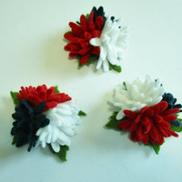 Patriotic red white and blue daisy clusters - set of 3- wool felt flowers, die cuts, felt flowers, felt cutouts, America, July 4, American