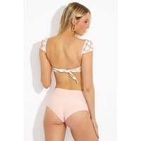High Rise Banded Bikini Bottom - Pastel Peach