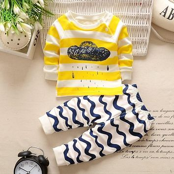 High quality Autumn winter baby clothing set cartoon printed baby boy clothes cotton baby girls clothes newborn baby clothes Set