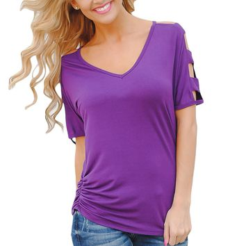 Chicloth Purple Cold Shoulder Ruched Sides T-shirt