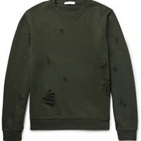 Sandro - Distressed Loopback Cotton-Jersey Sweatshirt