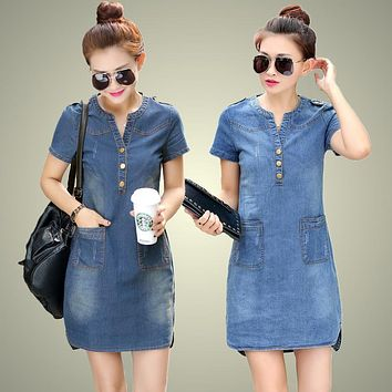 Blue  women denim dress
