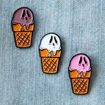 Ghost Ice-cream Cone Enamel Pin