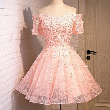 One-nice™ Wedding bridesmaid dress new short sleeve dress light pink