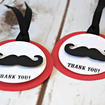 Mustache Themed Birthday Party Favor Tags (set of 12)