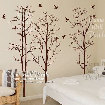 Tree wall decal Nursery wall sticker Branch vinyl wall decal Children wall decals nature - 3 dark brown trees birds Z144 cuma