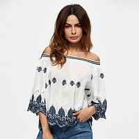 Fashion Off Shoulder Middle Sleeve Retro Embroidery Shirt Tops