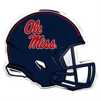 Ole Miss Rebels Die-Cut Metal Helmet Auto Emblem - Decal , Sticker