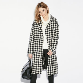 Plaid Mid Dress Coat
