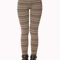 FOREVER 21 Fair Isle Leggings Black/Taupe Small