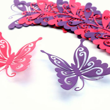 Purple Butterflies,Butterfly Wall Art,3d butterflies,Paper Butterflies,Birthday Favors,Wedding Favors,butterfly wall decal