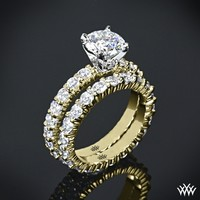 "18k Yellow Gold with Platinum Head ""Diamonds for an Eternity"" Diamond Engagement Ring & Wedding Ring"