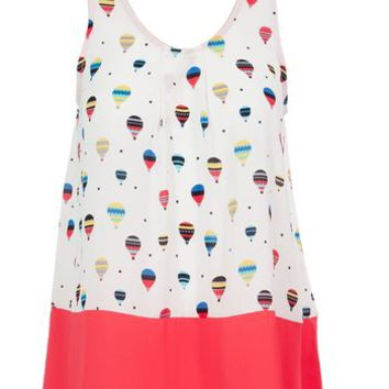Sidecca Traveling Hot Air Balloon Tunic Blouse