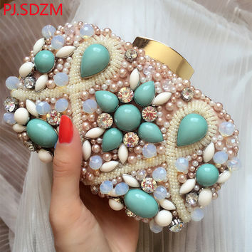PJ.SDZM Handmade Small Fresh Day Clutch Evening Bag Women Diamond Banquet Bag Luxury Beading Bags