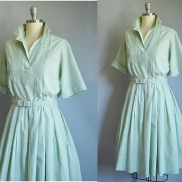 Vintage 1950s Mint Shirtwaist Dress