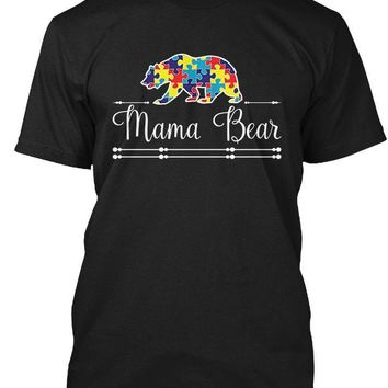 Autism Mom Mama Bear Autistic Child Son - Mother T-Shirt